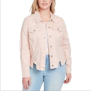 Jessica Simpson Pink Distressed Denim Jack…